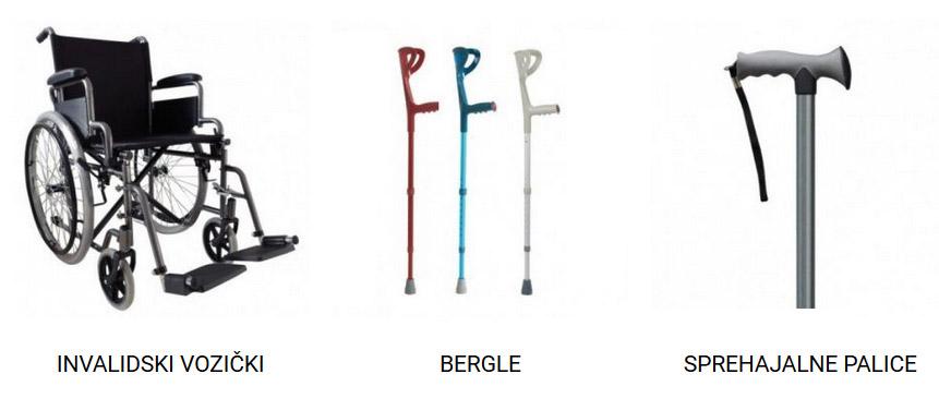 Invalidski vozički, bergle in sprehajalne palice