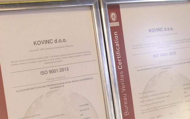 Kovinc - certifikati kakovosti
